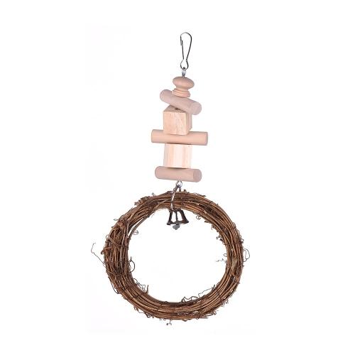 Птичья клетчатая игрушка Подвесная подставка Chew Foraging Toys для попугаев Птичий окунь с деревянной бусиной Катушка