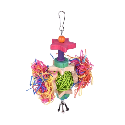 Color Bird Toy Cage Accessories Chew Toys Bite Swing Hanging Toy with Bell for Parrot