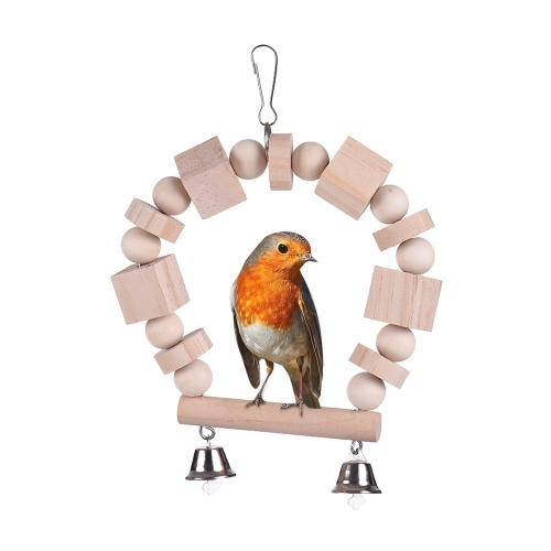 Wood Bird Toys Stand Perch Swing Chew Toy for Parakeet Budgie Cockatiel Hammock Cage