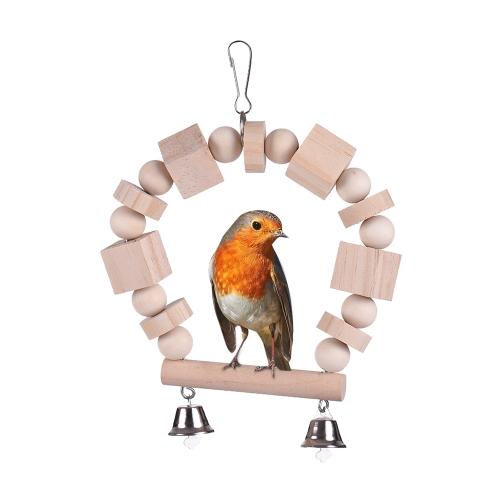 Деревянная птица игрушки Стенд окунь Swing Chew Игрушка для Parakeet Budgie Cockatiel Гамак Кейдж