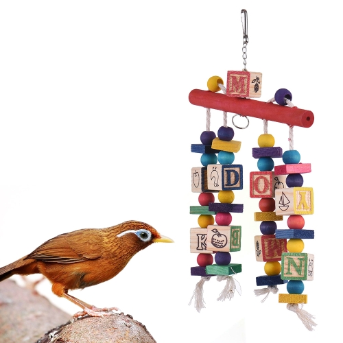Bird Stand Perch Swing Chew Ladder Toy Wooden Bird Cage Accessories Ferris Wheel for Parrots
