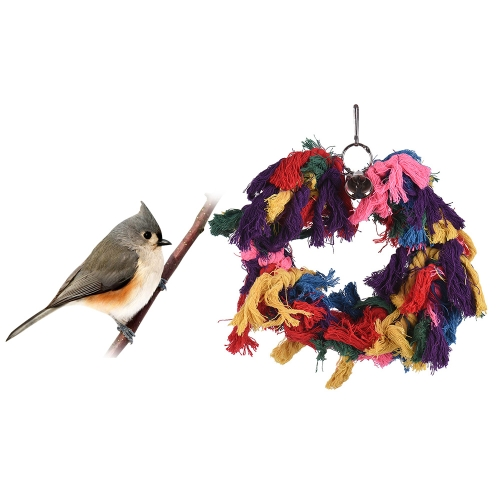Colorful Parrot Chew Bite Toy Bird Cage Accessories Hanging Cloth Toys for Parakeet Budgie Macaw Cockatoo