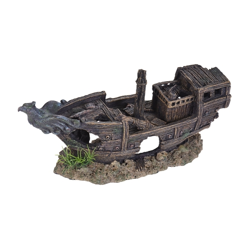 Imitation Shipwreck Sunken Broken Ship Rock Hiding Cave Landscape Aquarium Fish Tank Decoration Decorative Ornament Eco-friendly Resin