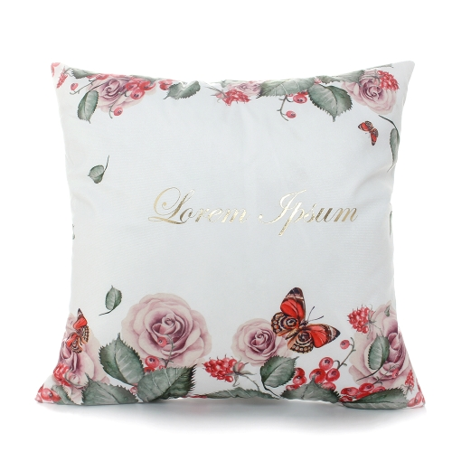 Home Textile Luxury Bronzing Cushion Covers Colorful Bed Home Decorative Square Throw Pillowcase Square Pillow Cover Printed Cotton Flower Pillowslip