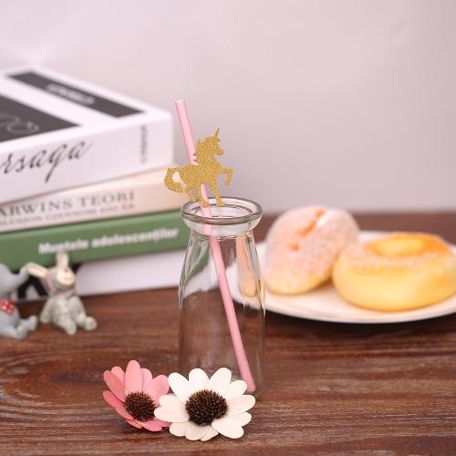 50pcs / set Glitter Color Одноразовая бумага Питьевая солома на день рождения Свадебный плавательный бассейн Украшения для вечеринок Поставки - Высокий каблук фото
