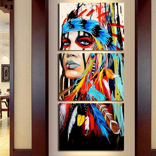 40 * 60cm HD Printed Frameless 3-Panel Indian Style Canvas Painting Wall Art Pictures Decor for Home Living Room Bedroom