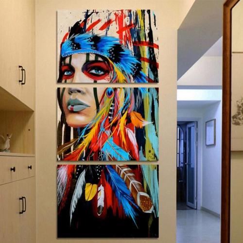 40 * 60 см HD Печатная безрамная 3-панель Индийский стиль Холст Живопись Стены Картины Декор для дома Гостиная Спальня