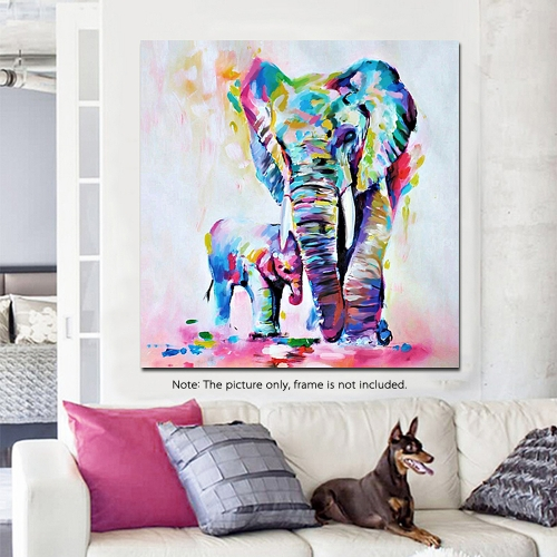 60 * 60cm HD Printed Frameless Watercolor Elephant Canvas Painting Wall Art Pictures Decor for Home Living Room Bedroom