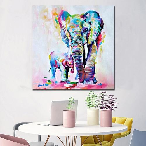 60 * 60 см HD Печатная безрамная акварель Слон Холст Живопись Стена Картины Декор для дома Гостиная Спальня