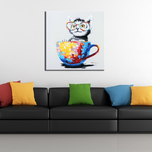 60 * 60cm HD Printed Frameless Cat Canvas Painting Wall Art Pictures Decor for Home Living Room Bedroom