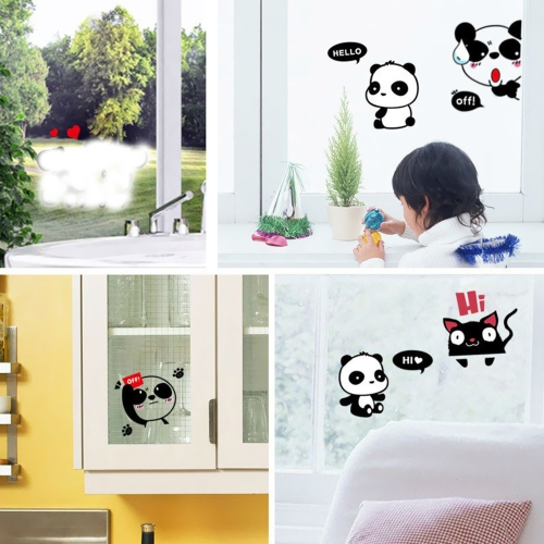 Removable Light Switch Decal Cat Panda Cute Animals Sticker Bedroom Living Room Home Decor Cartoon Figure PVC Water-resistant Sticker