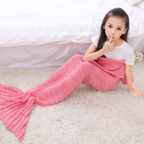 Handcrafted Knit Blanket Funny Unique Life-size Mermaid Tail Blanket for Women Girls Warm Winter Gift