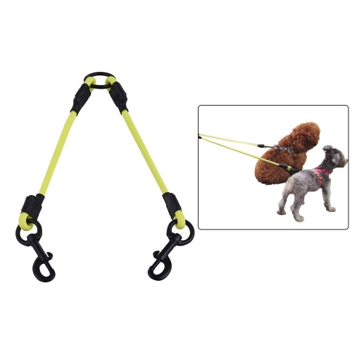SST002P PVC Round Double Dog Working Leash Linker Waterproof Deodorant Dog Dual Lead Twin Way Walk Strap Leads Set No Tangle for Two Big Small Dogs Pet Supplies