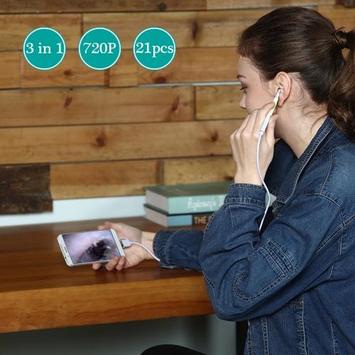 3-в-1 USB-ушная ушная раковина Эргоскопический светодиодный светильник Многофункциональная камера для осмотра борескопов HD 720P Визуальная уха Ложка для чистки зубов Инструмент для уборки ушной раковины Очиститель для ушей для ушей для OTG Android Micro