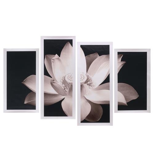 HD Impreso 4-Panel Lotus Sin Marco Patrón Lienzo Pintura Arte de la Pared Modular Pictures Decor para el Dormitorio de la Sala de estar