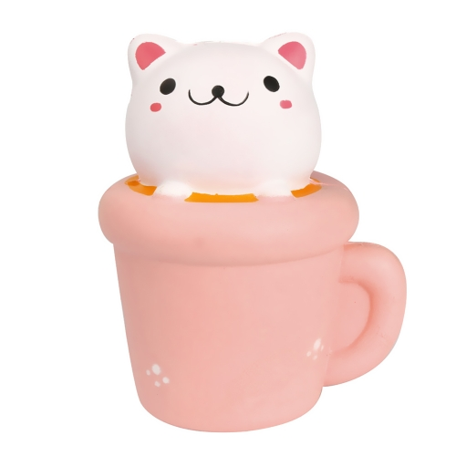 Cute Soft Squishy Simulation Cup Cat Toy Slow Rising Squeeze Toys for Children Adults Relieves Stress Anxiety Home Party Decoration