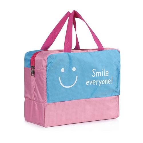 Мокрые сухие сепаратные сумки Сумка Большая сумка для хранения воды Водонепроницаемая сумка для одежды для пляжа Плавание Тренажерный зал Spa Water Park Серфинг-рафтинг (Pink Smile)