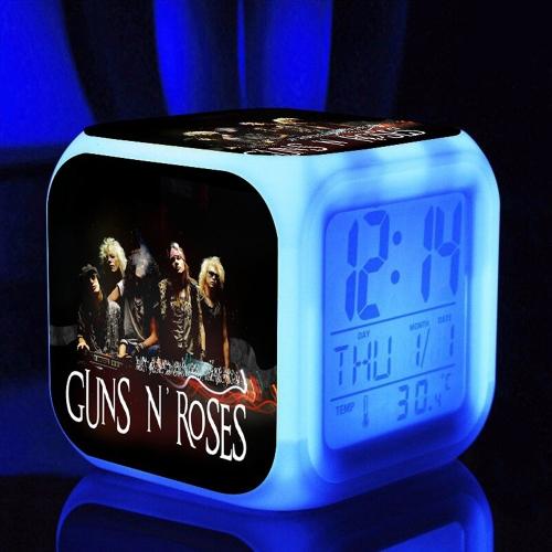 7 Изменение цвета Многофункциональный светодиодный цифровой будильник Cube Glowing in the Dark Home Decor Известный рок-группа Girls Boys Style