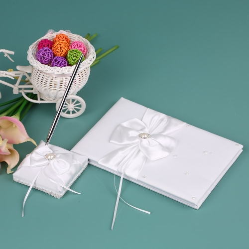 White Satin Ribbon Wedding Guset Signature Book and Pen Stand Set with Rhinestone Faux Pearls Bowknot Decoration H21022