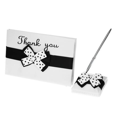 Livro de assinatura de casamento de cetim Guset e conjunto de carrinho de caneta com branco preto bowknot decoração