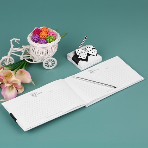 Satin Wedding Guset Signature Book and Pen Stand Set with White Black Bowknot Decoration H21032