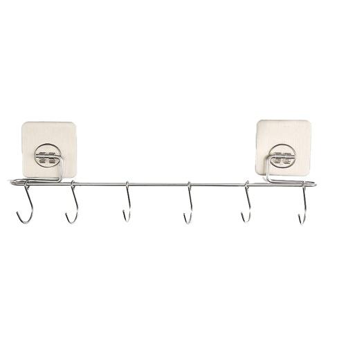 1 Pack 6 Крючки Бесшовные Прозрачная прочная клейкая дверь Многофункциональный настенный крючок Многоразовые наклейки для подвешивания на кухне Ванная