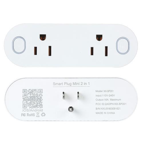 Pack of 2 Mini 2 in 1 WIFI Smart Plug Socket Wireless