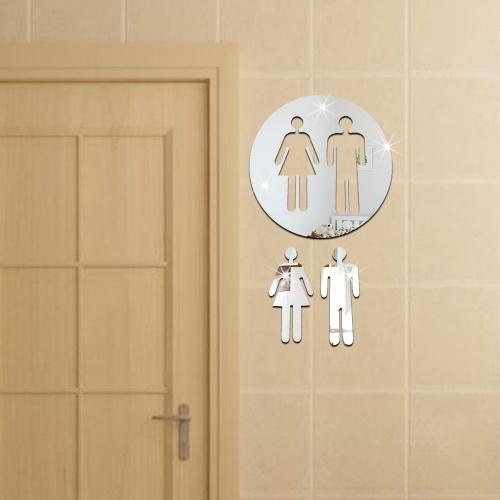 Comodo WC toilette 3D Adesivo da parete per uomo e donna con specchio Adesivo rimovibile per la casa in PET