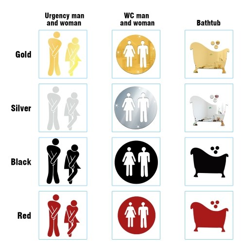 Convenient 3D Toilet WC Man and Woman Mirror Wall Sticker DIY PET Home Removable Decoration Stickers