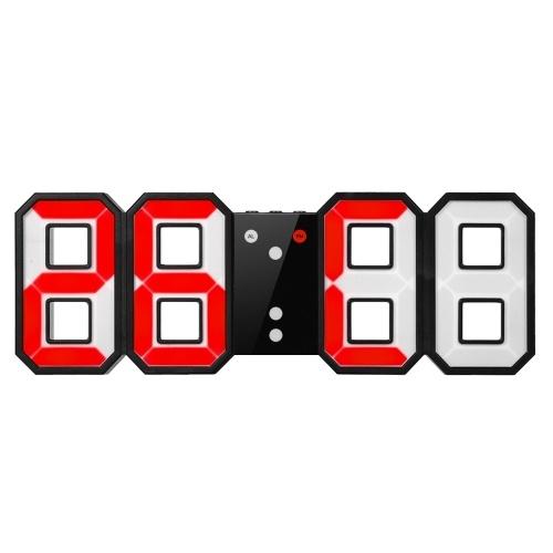 8-Shape Большой цифровой светодиодный термометр Будильник USB 12H / 24H Дисплей Синий / Белый / Красный свет Ручной / автоматический светодиод Яркость Регулируемая функция отсрочки на стене Настольная сигнализация