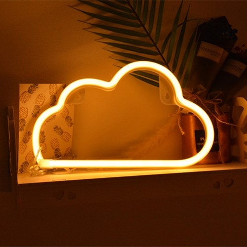 LED Lámpara de neón USB de carga Luz decorativa Cálida Nube blanca