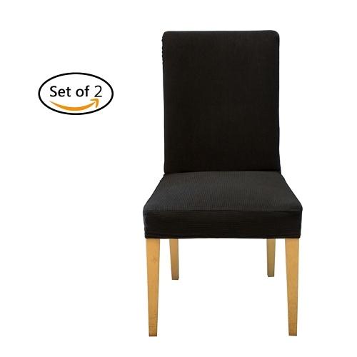 Пакет 2 Spandex Stretch Обеденный стул Чехлы для сидений Эластичные съемные моющиеся чехлы для чехлов Чехлы для протектора - черный