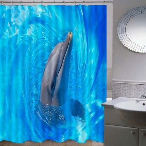 Tier-wasserdichte Duschvorhang-Vorhänge der Simulations-3D bauscht sich von der Badezimmer-Toilette mit Haken