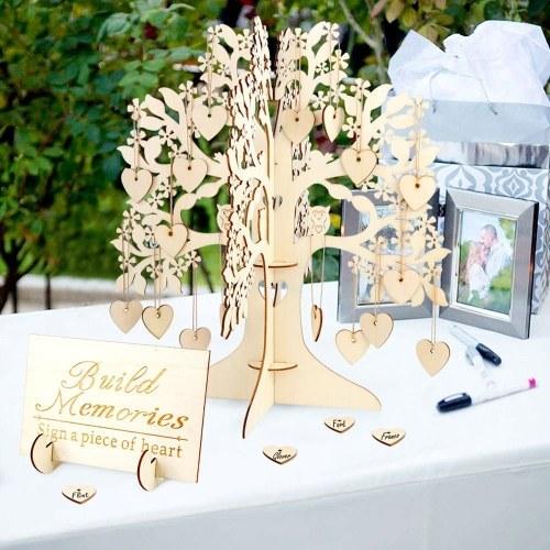 3D Деревянная гостевая книжная табличка Family Wishing Tree