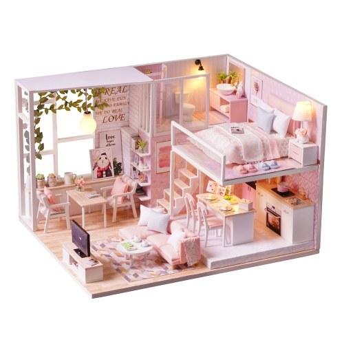 Kit de casa de bonecas em miniatura DIY Loft 3D sala de casa de madeira rosa (sem poeira cobrir-nenhuma caixa de música)