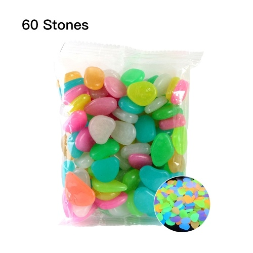 60pcs/Bag Luminous Pebbles Colorful Stones