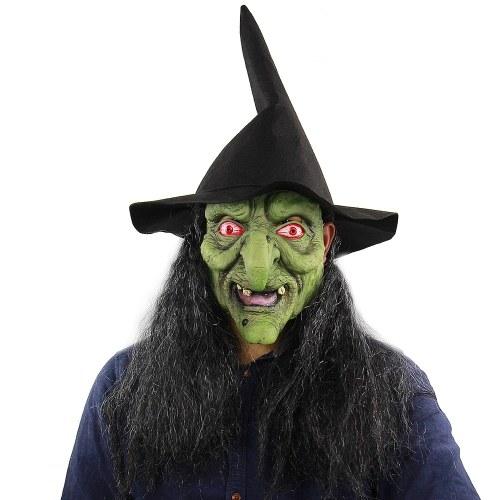 Cabeça de látex Full Scary Green Witch Mask