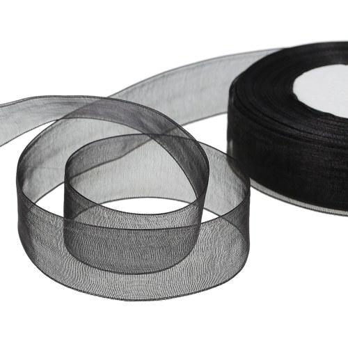 25mm 50 Yards-Roll Silk Organza Transparent Ribbon DIY Making Christmas Ribbons