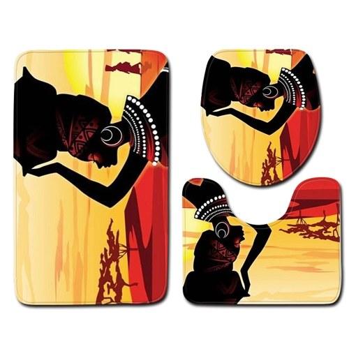 3pcs/set African Woman Printed Pattern Flannel Bathroom Set