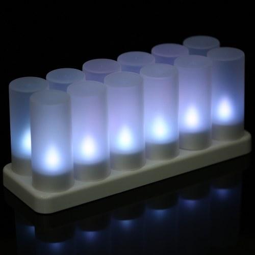 無色のティアライトキャンドルライトを点滅させる12の充電式LEDカラーのセット