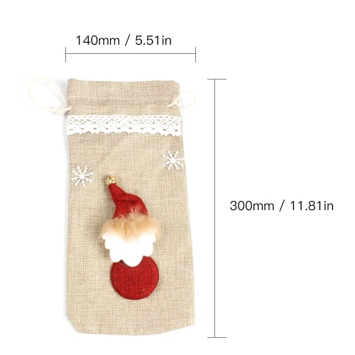 Christmas Wine Bottle Cover Bag Santa Claus Snowman Champagne Wrap Clothes