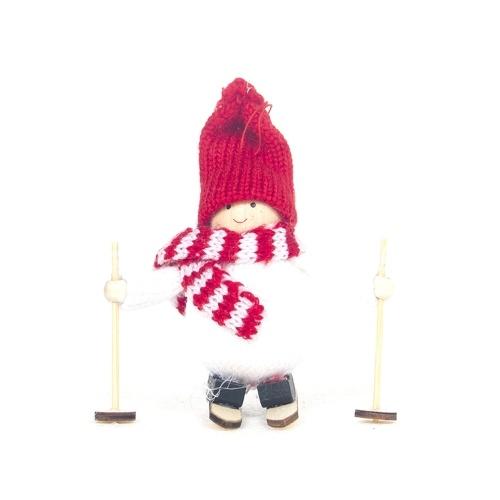 Christmas Decoration Ski Dolls Ornamenti per alberi di Natale Mini bambola di lana di pupazzo di neve