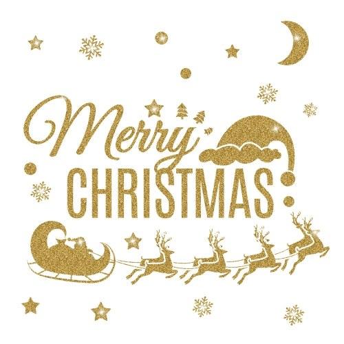 Etiqueta engomada de la pared del oro del día de Navidad del invierno que brilla