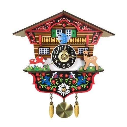 木製カッコウ壁掛け時計レトロスイング振り子時計