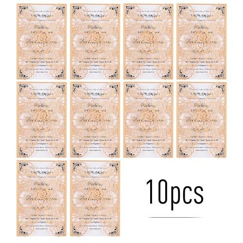 10pcs Pearl Paper Floral Invitation Cards