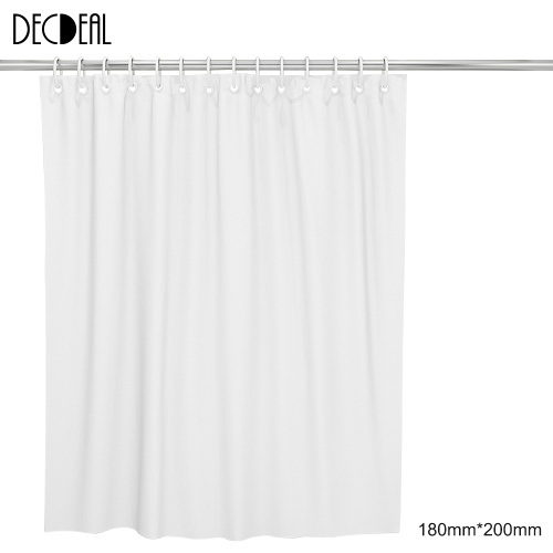 72 * 79'' White Polyester Waterproof Mildewproof Shower Curtain Decorative Privacy Protection Bathroom Curtain with 12pcs Hooks