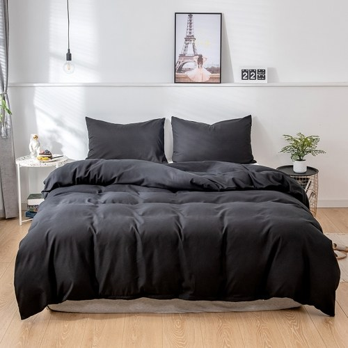Traje de tres piezas Funda de edredón Funda de almohada Ropa de cama Modelo estadounidense completo Negro