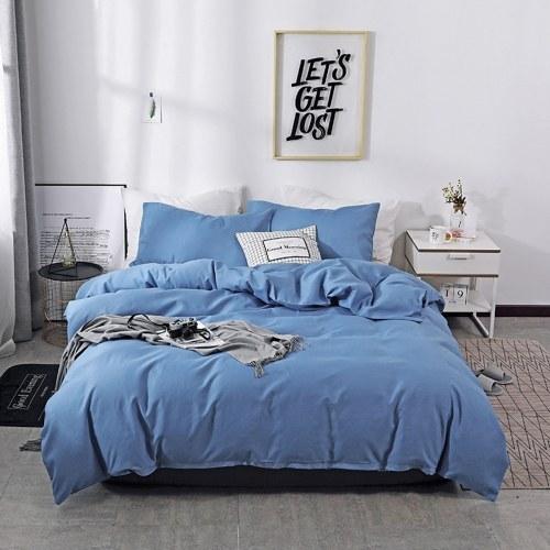 Dreiteiliger Anzug Bettbezug Kissenbezug Bettwäsche US-Full Model Dark Blue