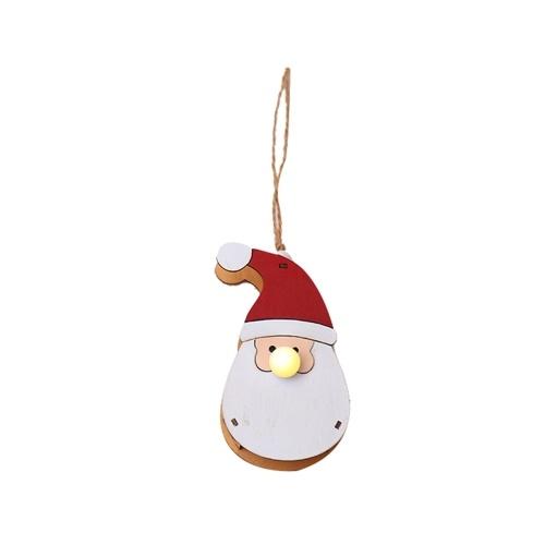Natal luminosa madeira boneca pingente santa boneco de neve alces LED luz