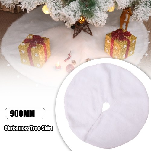 Christmas Tree Skirt White Plush фото